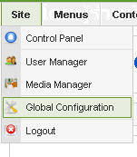 menu Site>>Global Configuration